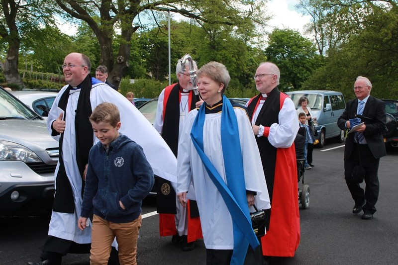 Revd Willie with his son and Margaret McVeigh