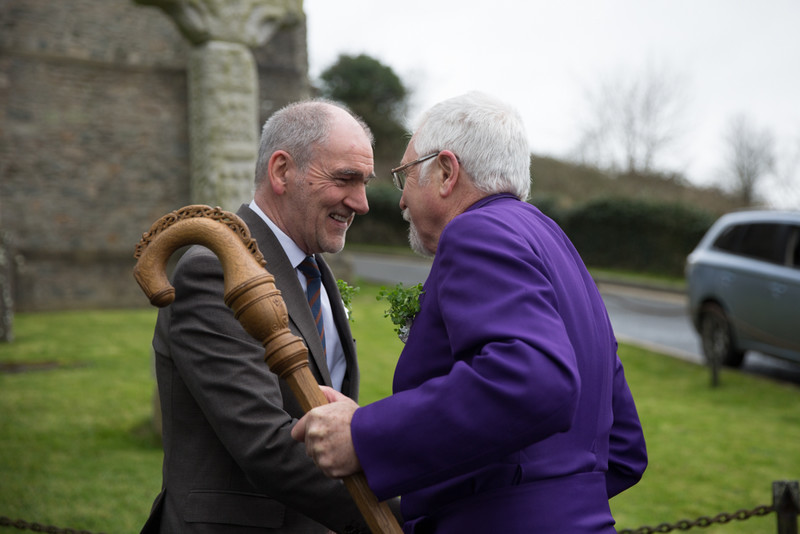 Bishop Harold greets Mickey Harte