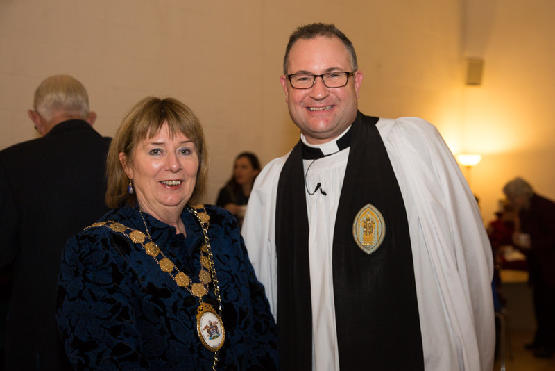 Mayor of Ards and North Down Deborah Girvan with Canon Simon Doogan