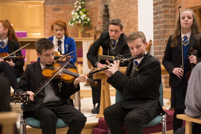 Pupils from St Columbanus College playing traditional music