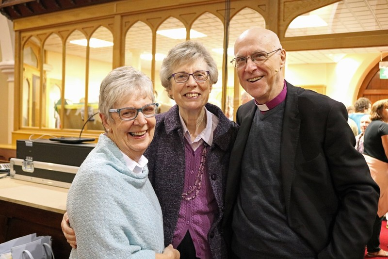Beryl Whitehead and Eileen Murphy former SAMS with Bishop Greg